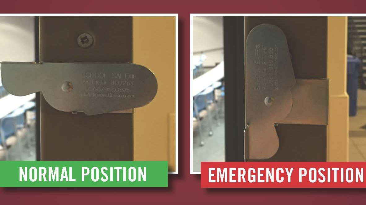 normal position is horizontal, emergency position is vertical and flush with door