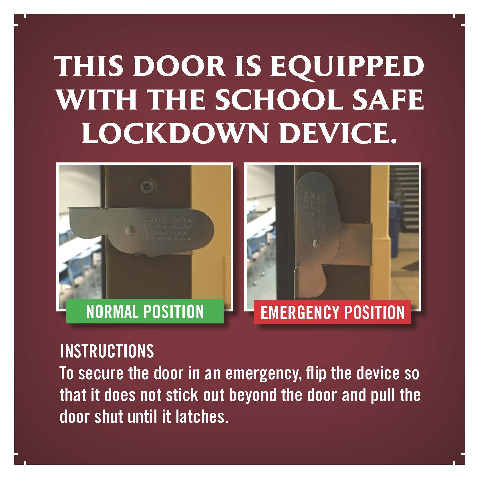 School Safe Lockdown Device